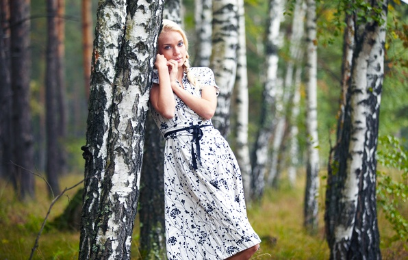 Picture Girl, Tree, Forest, Blonde, Model, Beauty, Beautiful, Standing, Posing, Cutie, Go to, Alena, Birch