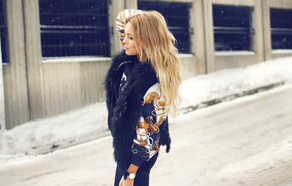 Picture girl, snow, watch, blonde