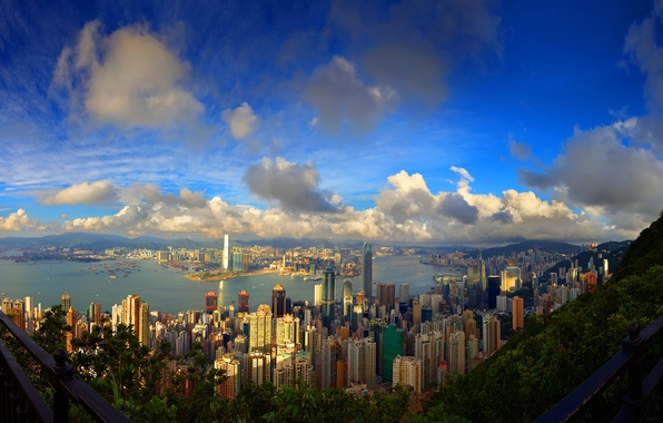 Picture sea, the sky, mountains, the city, photo, Wallpaper, building, home, skyscrapers, picture, megapolis, buildings
