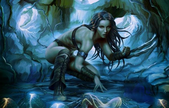 Picture pose, Girl, predator, cave, swords