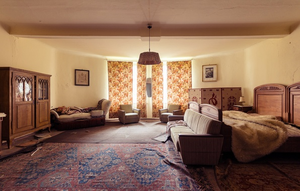 Picture sofa, Windows, bed, curtains, bedroom, frames, sunlight, carpeted