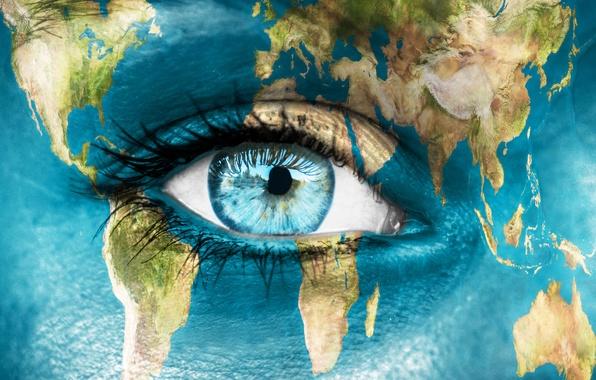 Picture eyes, water, macro, eyelashes, the pupil, drying, body art