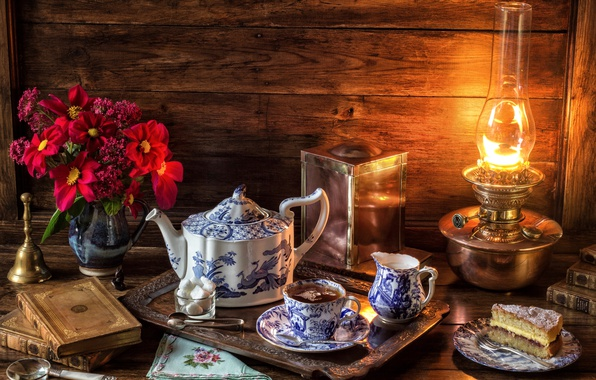 Picture tea, lamp, bouquet, Cup, cake, sugar, book, still life, bell, set, tray