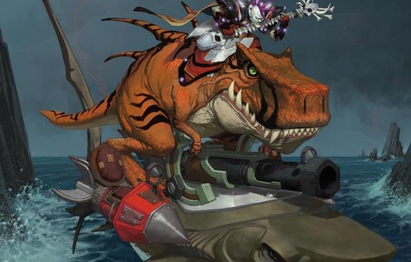 Photo wallpaper water, shark, undead, wow, undead, world of warcraft, the forsaken, dinosaur, davoser, Epicus