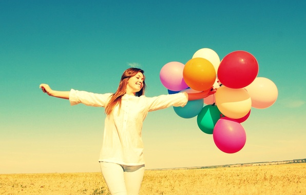 Picture field, the sky, freedom, girl, balls, joy, happiness, nature, balloons, background, widescreen, Wallpaper, mood, colored, …