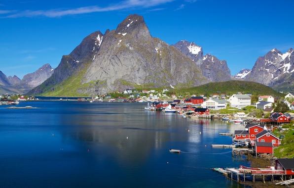 Picture sea, mountains, coast, Norway, town, The Lofoten Islands, The Norwegian sea, Lofoten