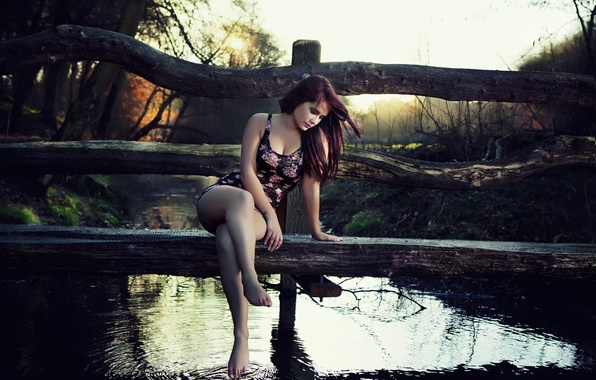 Picture girl, nature, wooden, the bridge, pond