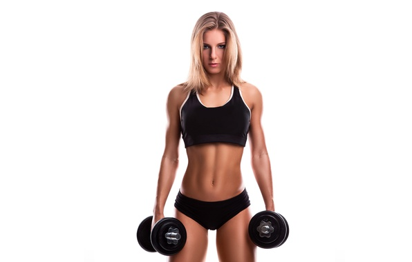 Picture look, girl, hair, body, figure, sports, dumbbells