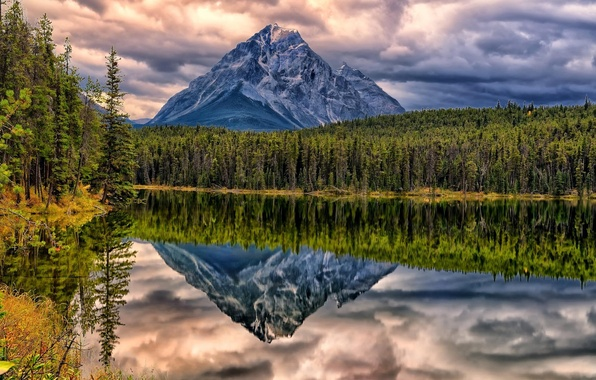 Picture forest, clouds, landscape, sunset, mountains, lake, reflection, rocks, Canada, Albert, Alberta, Canada