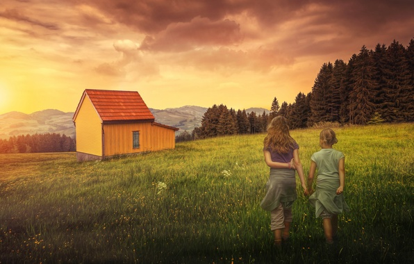 Picture field, the sky, trees, house, hills, girls, treatment, Homecoming