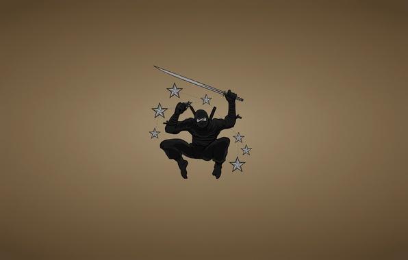 Picture weapons, jump, minimalism, sword, ninja, stars, blade, ninja, black suit