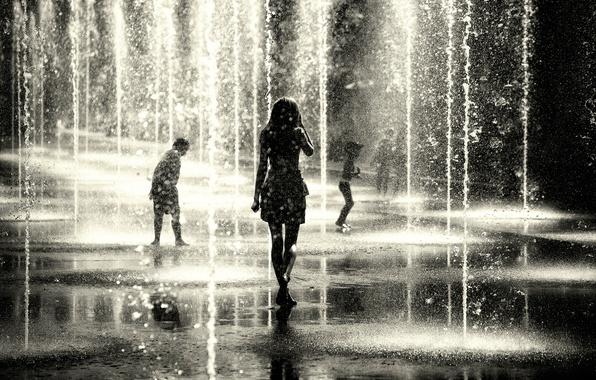 Picture girl, drops, children, the city, fountain