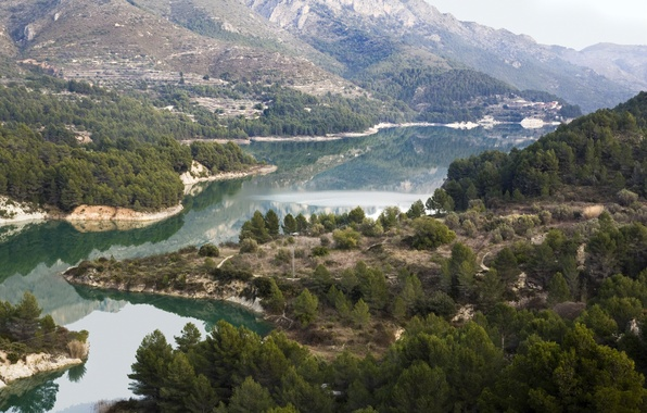 Picture mountains, Spain, forest, Spain, Valencia, Valencia, the river Guadalest, Guadalest river