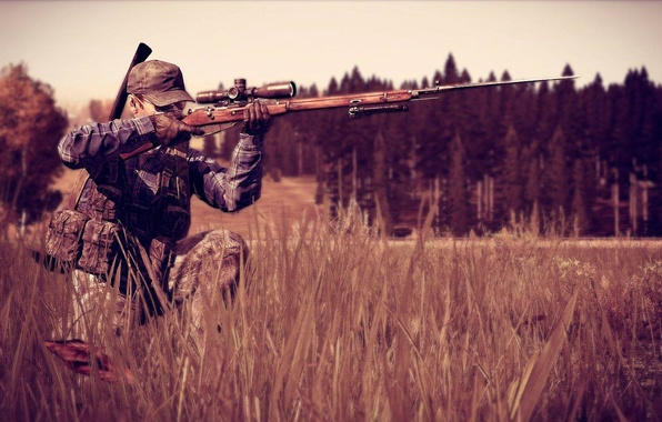 Wallpaper Forest, Sniper, Camouflage, Mosin, DayZ