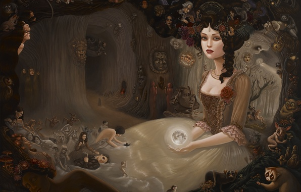 Picture girl, surrealism, the moon, rose, ball, face, details, Quinceanera dresses