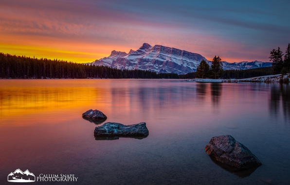 Picture forest, snow, sunset, mountains, nature, lake, British Columbia, alberta, Assiniboine Provincial Park, Lake Magog