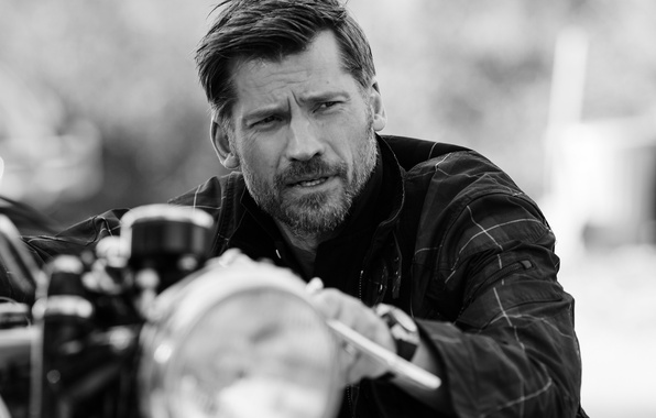 Picture photo, motorcycle, actor, black and white, bokeh, Nikolaj Coster-Waldau, Nikolaj Coster-Waldau, Blair Getz Mezibov