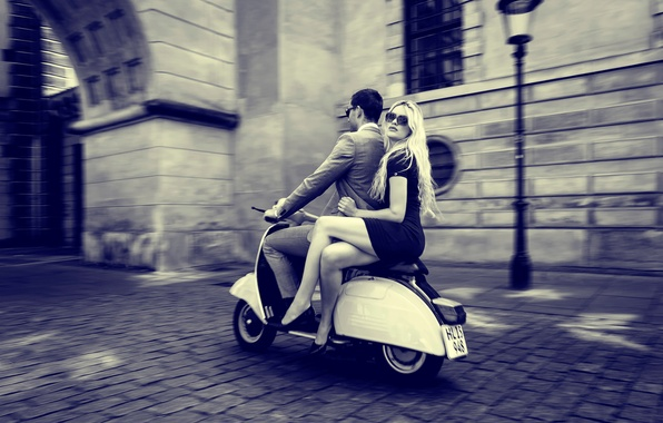 Picture girl, the city, guy, vintage, retro, vespa, scooter