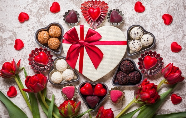 Picture flowers, candy, hearts, tulips, Valentine's Day