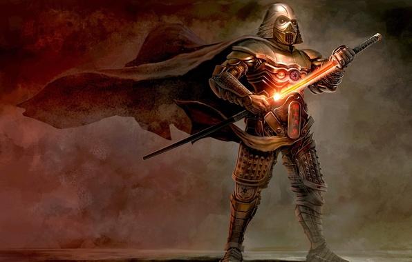 Picture the wind, sword, art, helmet, star wars, Darth Vader, armor, cloak, Vader, Samurai