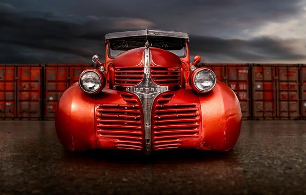 Picture retro, Dodge, classic, pickup, the front, pickup