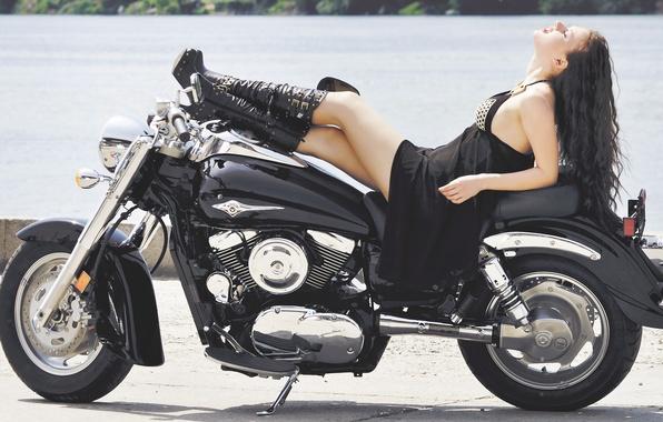 Picture girl, bike, woman, motorcycle, brunette