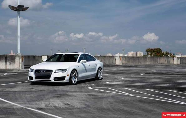 Picture Audi, Audi, Machine, Tuning, White, White, Tuning, Vossen