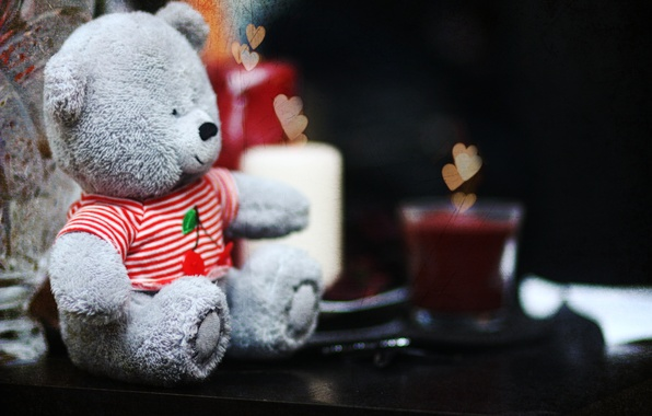 Picture love, cute, candles, bear, hearts, teddy