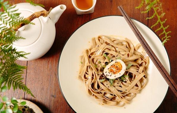 Picture tea, egg, sticks, kettle, sesame, noodles, pasta
