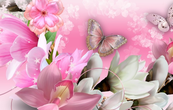 Photo wallpaper flowers, collage, butterfly, petals, orchids