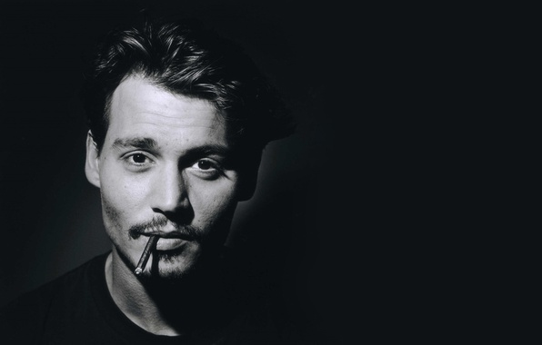 Picture face, photo, Johnny Depp, black and white, portrait, Johnny Depp, male, actor, monochrome