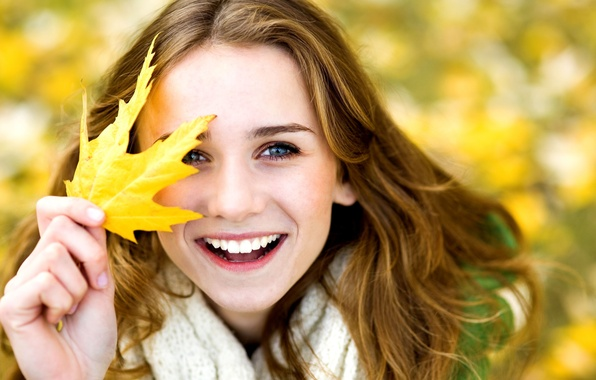 Picture autumn, leaves, girl, joy, yellow, smile, background, Wallpaper, mood, woman, laughter, blur, positive, girl, leaf, …