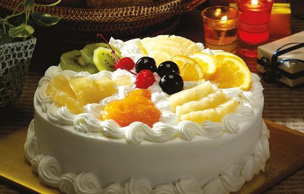 Picture cherry, table, box, basket, orange, plants, candles, kiwi, cake, pot, fruit, pineapple, cream, dessert, cherry