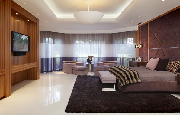 Picture bed, interior, chairs, curtains, bedroom, interior, bedroom, TV.