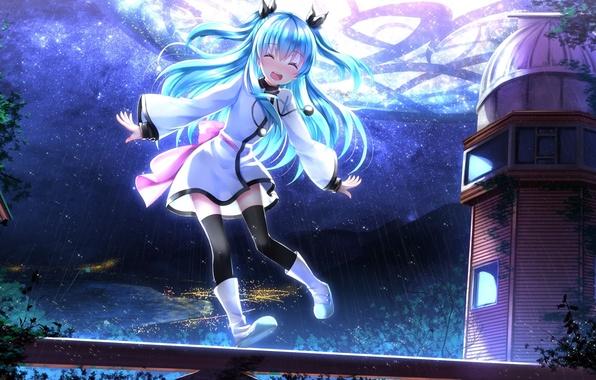 Picture the sky, girl, stars, clouds, joy, night, anime, art, noel, swordsouls, sora no method