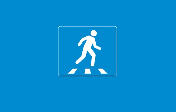 Picture creative, blue, people, minimalism, Zebra, attention, perehodny transition, creative walls, road sign