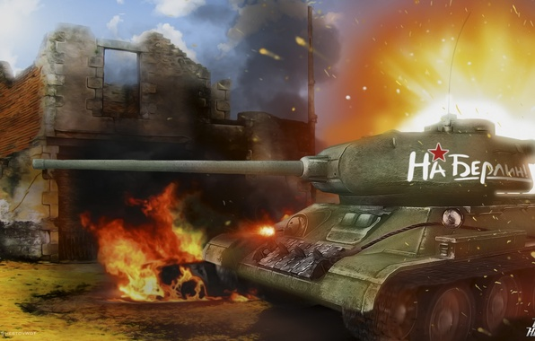 Picture tank, May 9, world of tanks, t-34, wot, t-34-85, victory day