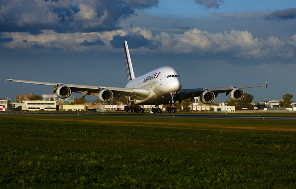 Picture The sky, Clouds, Grass, The plane, Liner, Airport, A380, The rise, Airbus, Air France