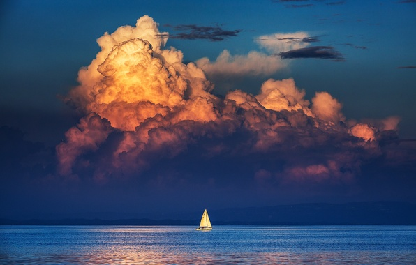 Picture sea, the sky, clouds, reflection, shore, sailboat, mirror, horizon