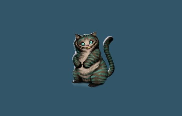 Picture minimalism, art, Alice in Wonderland, sitting, blue background, Cheshire Cat, Cheshire Cat, Alice's Adventures in …
