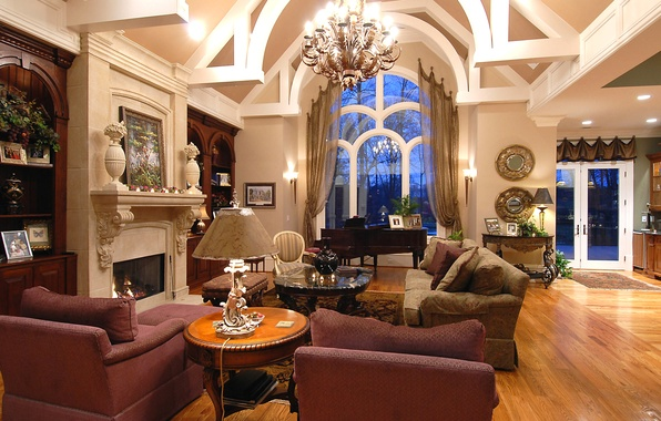 Picture sofa, picture, chair, window, chandelier, fireplace, table, living room