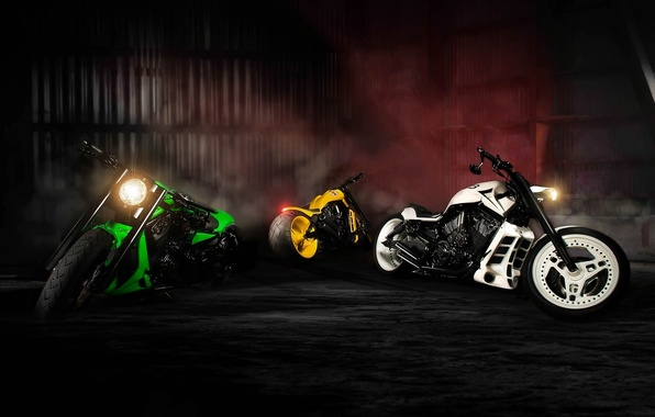 Picture Green, White, Yellow, Bike, Sport, Motorcycles, NLC