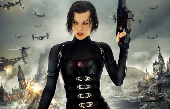 Picture the explosion, zombies, Milla Jovovich, Milla Jovovich, Resident Evil Retribution, Resident evil Retribution