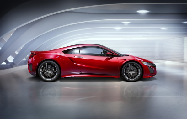 Picture photo, Car, Acura, NSX, Burgundy, Side, 2015, Metallic