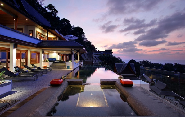 Picture sea, clouds, trees, house, umbrella, sofa, Villa, pool, Jacuzzi, balcony, house, pool, table, sunbeds, home, …