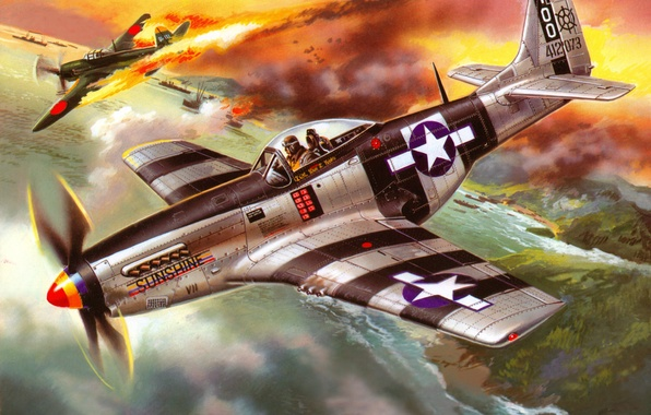 Picture the sky, water, figure, ships, Bay, fighter, art, the plane, American, Japanese, WW2, downed, P …