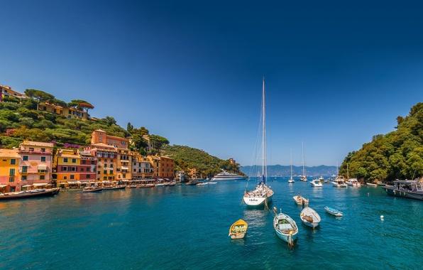 Picture sea, building, yachts, boats, Italy, Italy, The Ligurian sea, harbour, Portofino, Portofino, Liguria, Liguria, Ligurian …