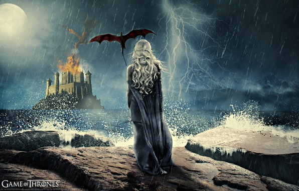 Picture the storm, girl, flight, night, castle, rain, fire, the moon, dragon, back, wings, the series, ...