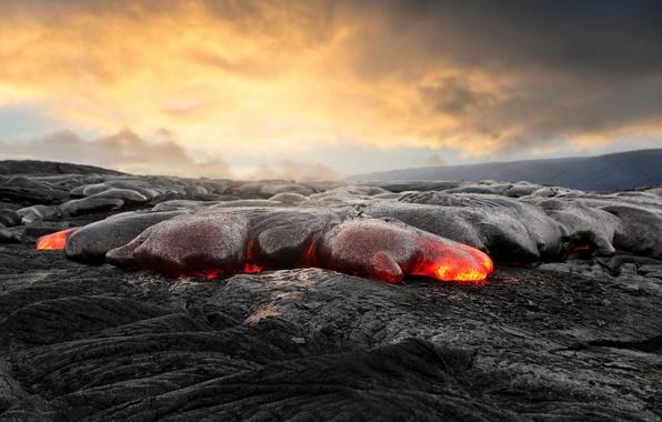 Picture ash, lava, magma