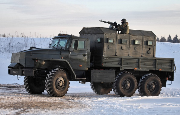Picture snow, Armored car, gunner, Star-, Ural-4320